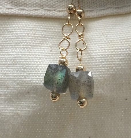 Labradorite earrings, gold-filled findings