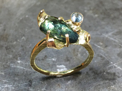 Custom sapphire, blue topaz and 14K gold ring for FM.