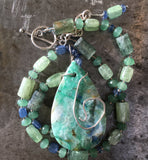 Azurite chrysocolla pendant on kyanite and sterling silver necklace