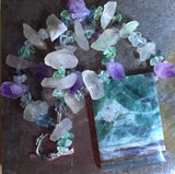 Fluorite pendant, rough and polished fluorite beaded necklace, mermaid clasp
