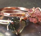 Pink spinel ring, rough crystal, in 14K rose gold