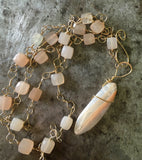 Peach moonstone pendant, moonstone and hand twisted gold-filled chain necklace