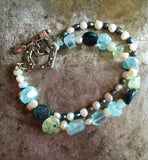 Kyanite, pearl and aquamarines, double strand bracelet