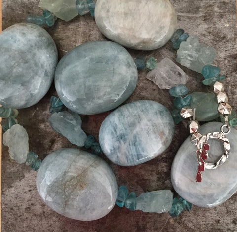 Aquamarine necklace, sterling silver toggle