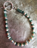 Pearl and moss agate bracelet