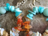 Amazonite, carnelian, moonstone, apatite earrings, sterling wire and hooks.