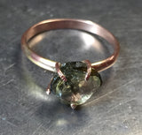 Golden green tourmaline ring, rough crystal, 14K gold