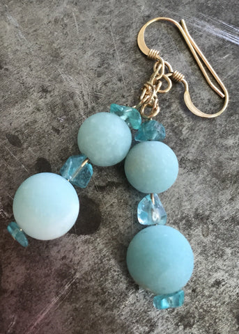 Amazonite earrings with apatite nuggets, gold filled