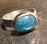 Blue tourmaline cabachon ring