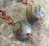 Jasper earrings, copper
