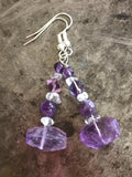 Amethyst earrings, faceted nuggets