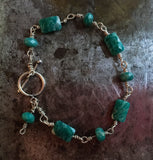 Amazonite bracelet, twisted sterling silver