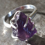 Amethyst, rough cut, prong set in sterling silver ring