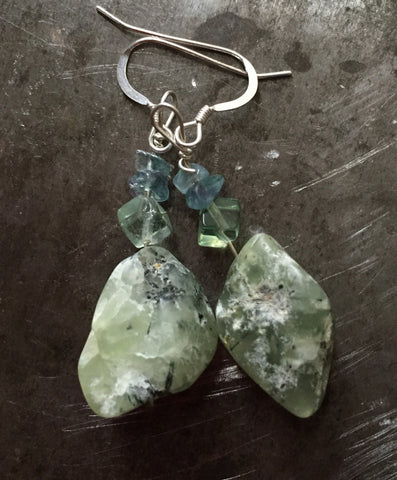 Prehnite, rough and tumbled, fluorite and blue topaz chip earrings, sterling silver