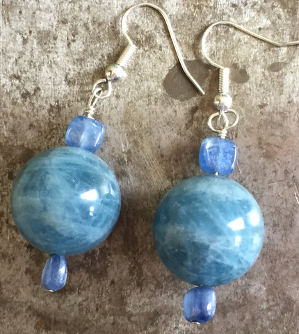 Aquamarine and blue kyanite earrings, sterling silver
