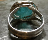 Gorgeous raw blue green apatite ring