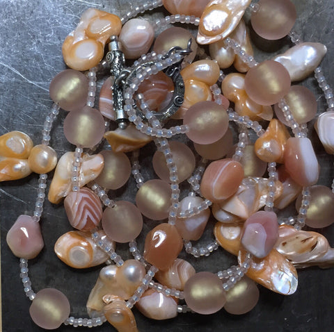 Botswana agate, pearls necklace, sterling silver clasp