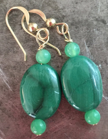Malachite earrings, velvety green, in gold filled wire.