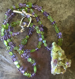 Vesuvianite raw crystal pendant, necklace of peridot and rose de France amethyst beads