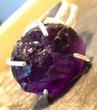 Amethyst, rough crystal, in sterling silver ring.