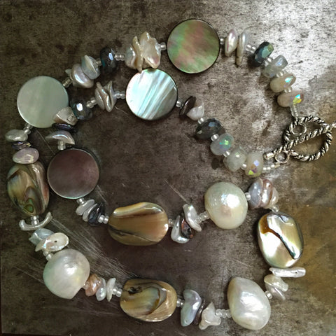 Abalone, pearl, mother of pearl necklace, sterling silver toggle