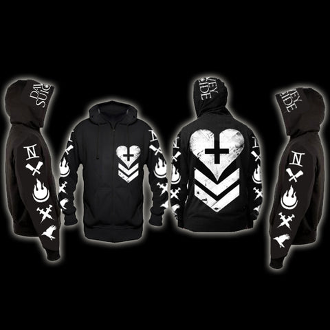 All-Over-Print Heart Zip Up Hoodie + FREE digital download ROCK AINT DEAD!