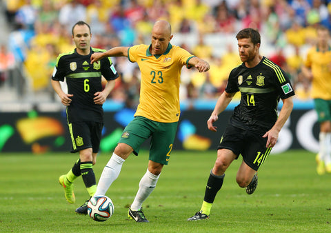 b33c7bc61 2014 Socceroos World Cup Jersey. Australia s contemporary heroes paid  tribute to the pioneers of 1974 ...