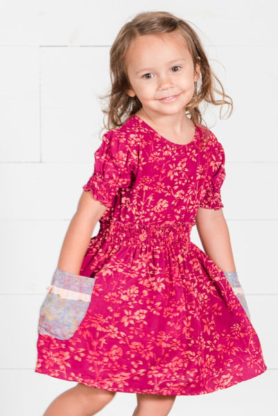 Girls Rose Batik Dress