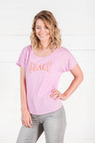Teach Peace Ladies Tee in Lilac
