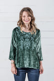 Embroidered Velvet Top