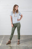 Pull On Denim Jeans in Clover