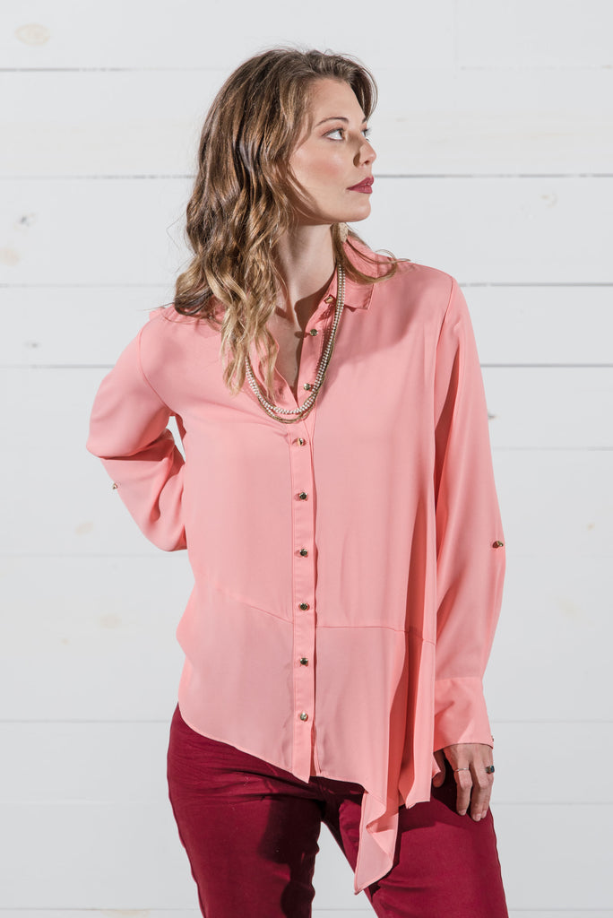 Button Front Whisper Blouse