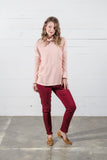 High Waist Skinny Jeans in Merlot
