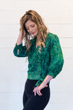 Cropped Wrap Blouse in Greens