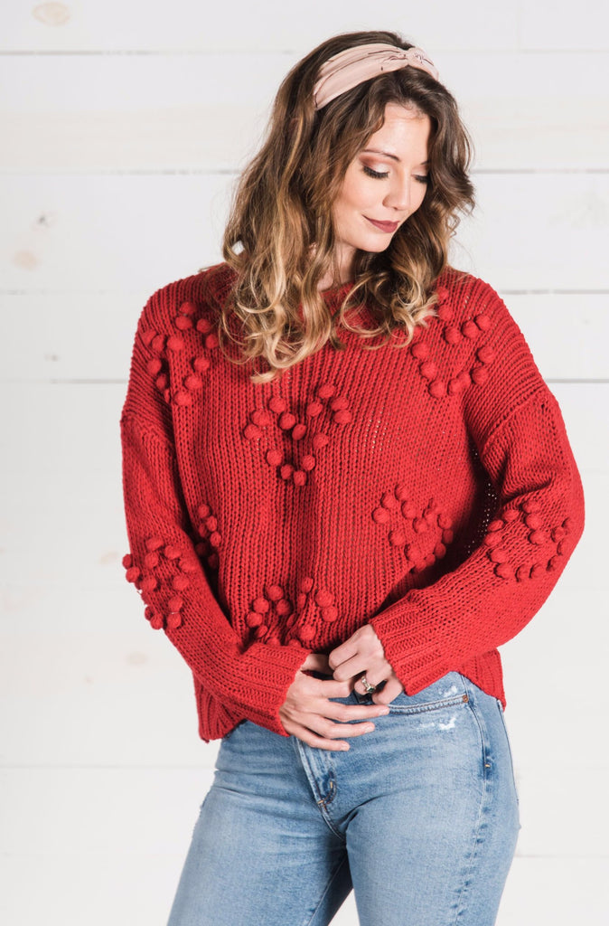 Heart Pom Sweater in Red