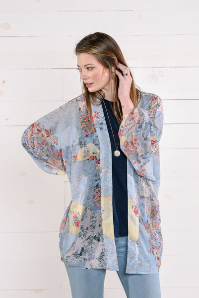 Cocoon Sheer Kimono in Light Blue