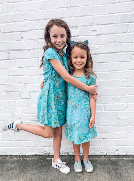 Big Girls Batik Dress in Turquoise