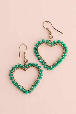 Beaded Heart Dangle Earring