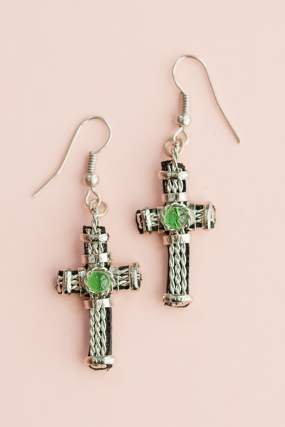 Leather Cross Earring