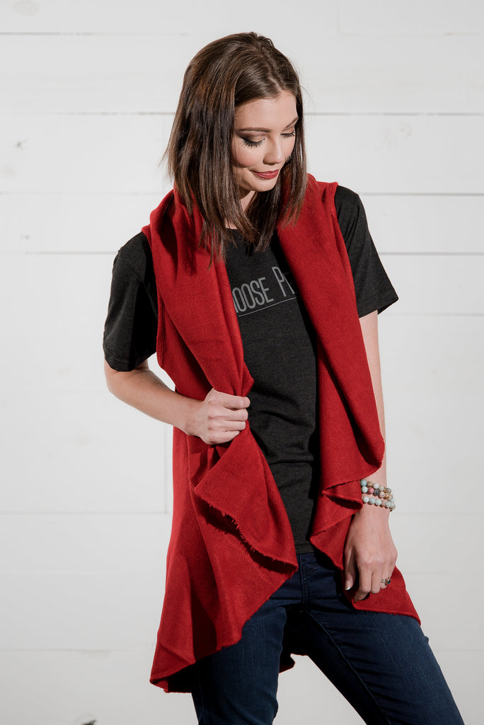 The Shawl Vest in Red