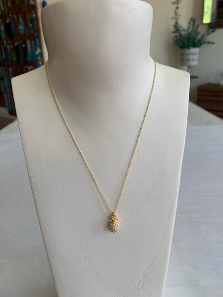 Gold Pearled Pineapple Necklace
