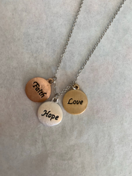 Faith Hope Love Message Necklace