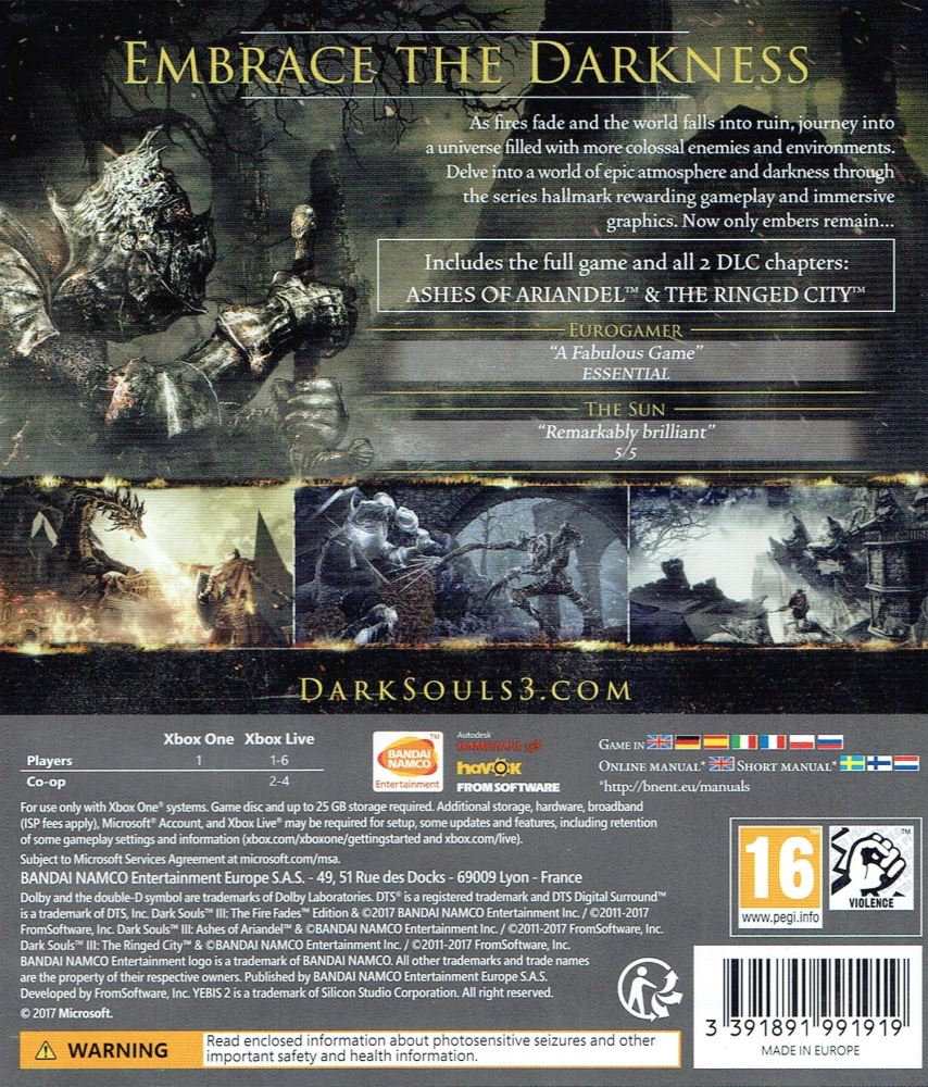 Dark Souls Iii The Fire Fades Edition Xbox One Game Ps4 Soul Of Year 3 1 Front Fvlb Rnv3ok2pgmrf 2 Back Pegi Rnv3oowm739c