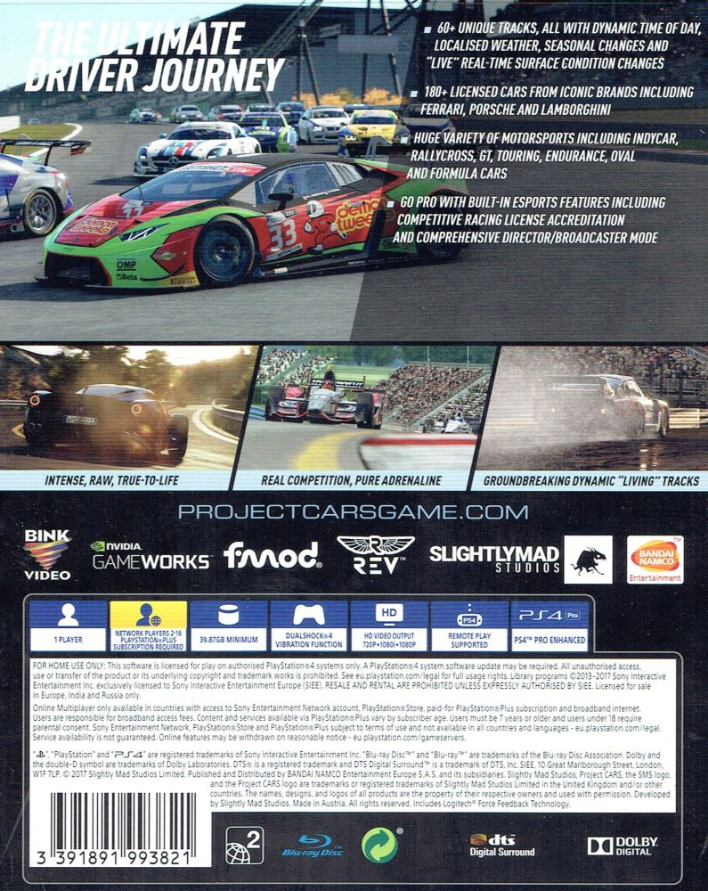 Project Cars 2 PS4 1 Front Pegi ROFIYPPK8QZX Back ROFIYUXOIHWZ