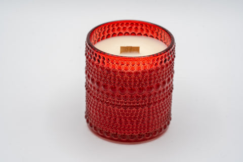 Red Bubble Glass Soy Wax Candle - Wood wick