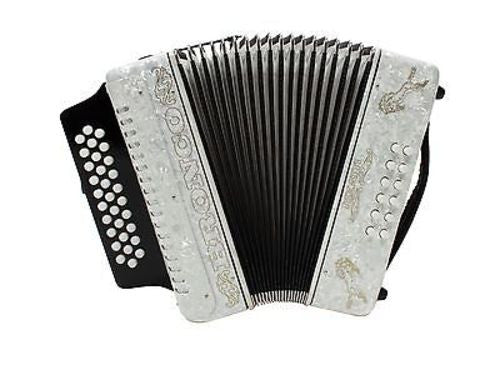 Rizatti Bronco RB31GW Diatonic Accordion - White - Key G/C/F with Padded Bag