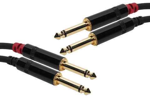 SuperFlex GOLD SFP-210QQ Patch Cable, Dual 1/4in TS to 1/4in TS - 10'