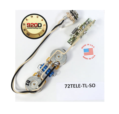 Fender '72 Thinline Tele Telecaster Wiring Harness Solid Shaft - 500K - PIO Cap