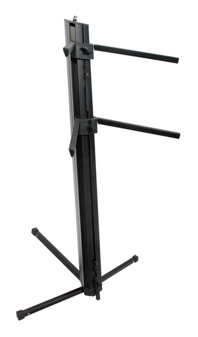XSPRO Two Tier Column Keyboard Stand with Microphone Mount, XKB300B, Black