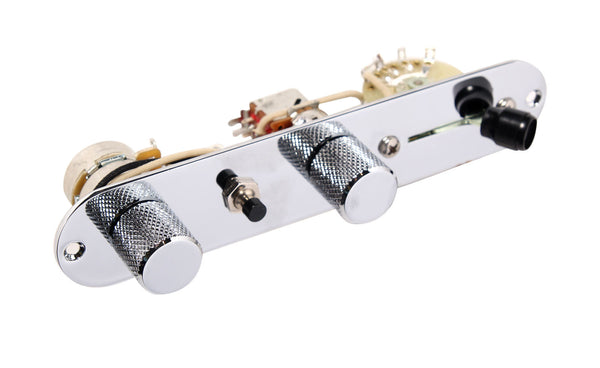 920D Fender Tele Telecaster Loaded 3 Way Control Plate w/ TBX, Split, and Kill Switch, Chrome